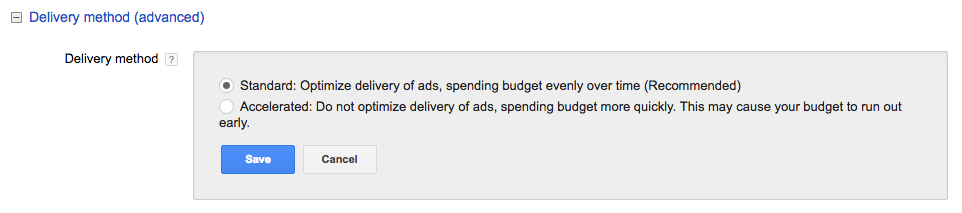 Standard AdWords Delivery