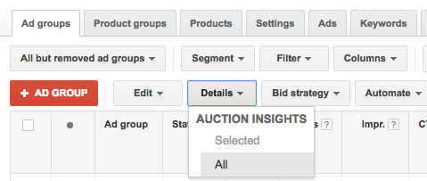 AdWords Details Dropdown