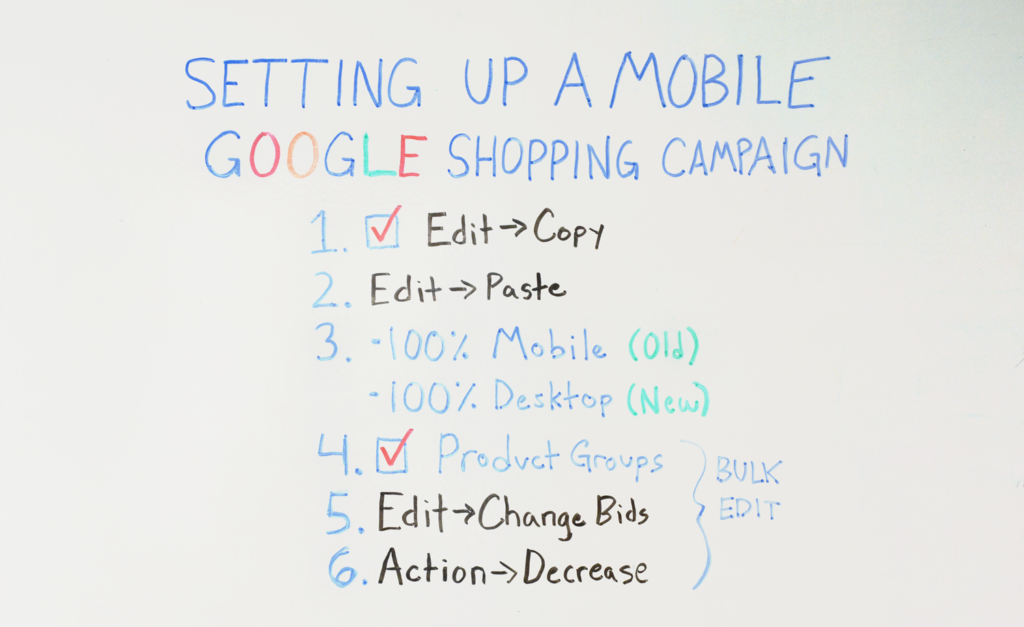 Setting Up a Mobile Google Shopping Campaign Whiteboard
